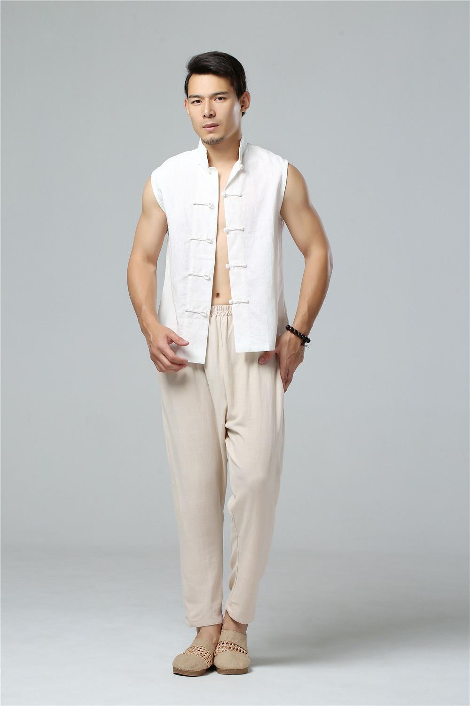 LZJN 2019 Men's Summer Waistcoat Chinese Style Vintage Breathable Linen Button Down Kung Fu Shirt Sleeveless Vest Jacket  (8)