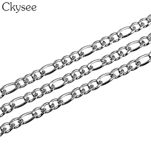 Image 3 - Ckysee 10Yards/Roll 3/4/5mm Width Stainless Steel Bulk Chain Silver Mens Figaro Link Chain Necklaces For Diy Jewelry Making