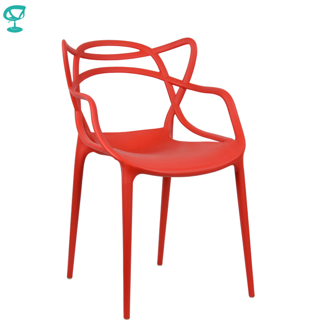94978 Barneo N-221 Plastic Kitchen Interior Stool Chair for a Street Cafe Chair Kitchen Furniture Red free shipping in Russia