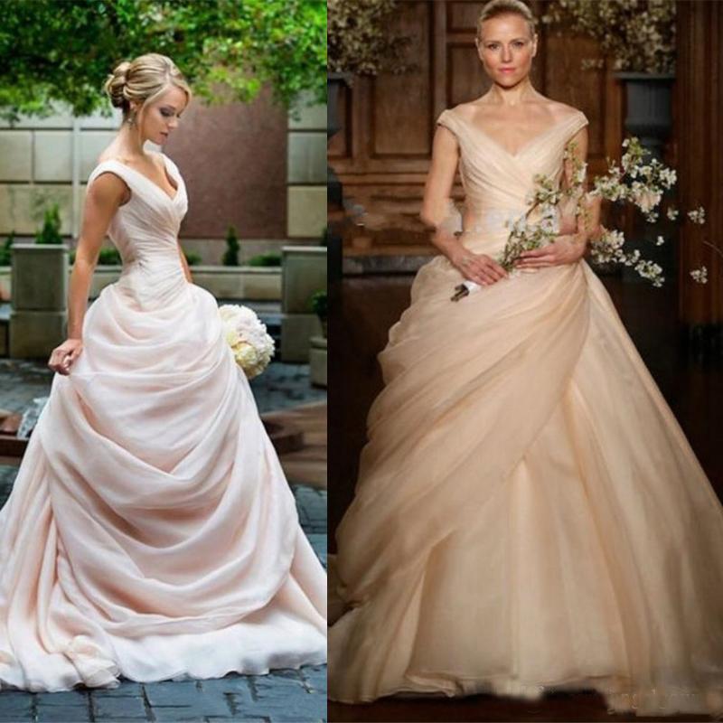 Ruching Wedding Gowns: Elegant Blush Pink Ball Gown Wedding Dresses Long Ruched V