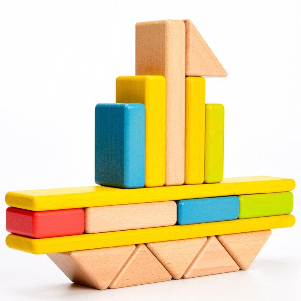 Jouets en bois de puzzle arc-en-ciel de couleur chaude empilant des blocs de tour en bois enfants jouet d'éducation précoce diverses formes bloc de construction arc-en-ciel