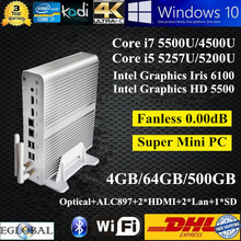 [Windows 10] 5Gen Mini PC Linux 4GB Ram 64GB SSD 500GB HDD Intel Core i7 5500U i5 5257U Graphics Iris 6100 Home Theatre PC