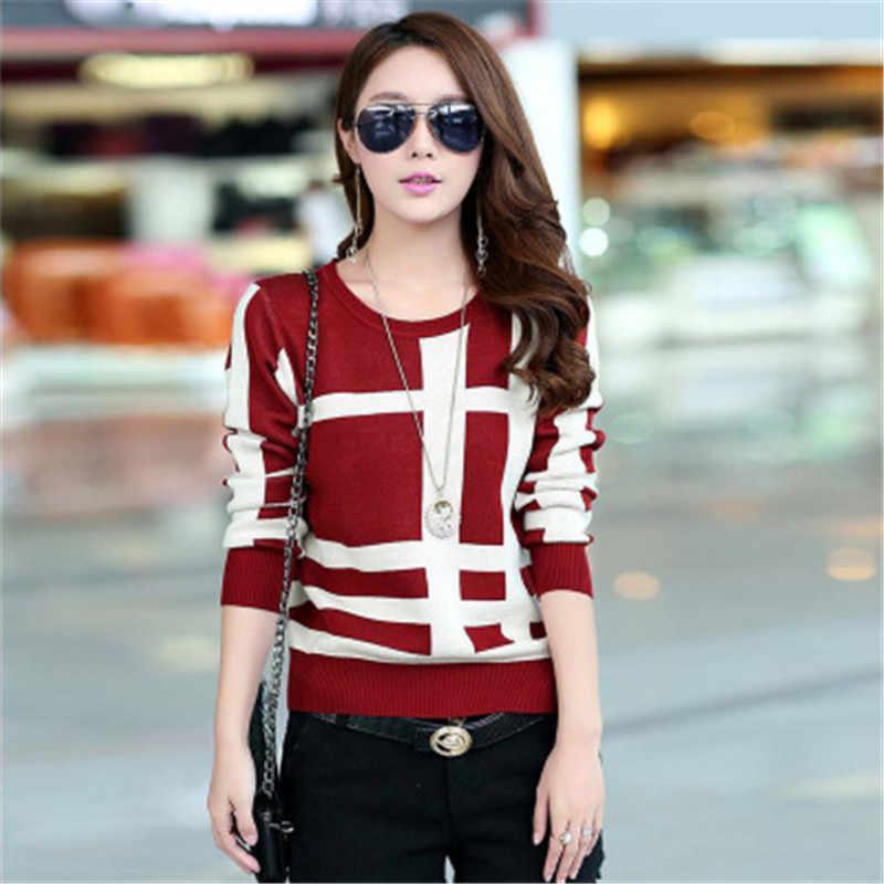 Новый стиль кашемировый свитер Для женщин пуловер свитер женский o-образный вырез вязаный плед пальто тонкий свитер больших размеров Размеры 5 цветов S-3XL