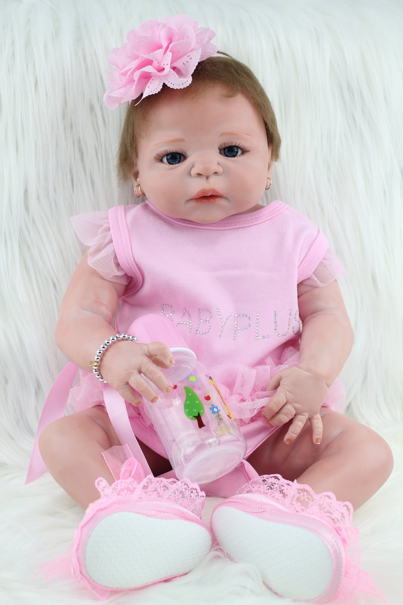 55cm New Full Silicone Body Reborn Baby Doll Toys Realistic Newborn Girl Babies Princess Dolls Child Birthday Gift Present Girls baby girl arianna on board novelty car sign gift present for new child newborn baby page 4 page 7