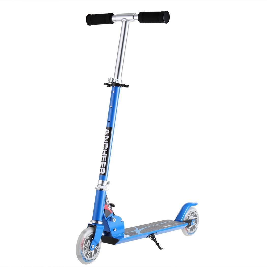 Les roues de Scooter de coup de pied d'enfants d'anremonter l'alliage d'aluminium réglable t-style conçoivent le Scooter pliable de coup de pied de LED léger