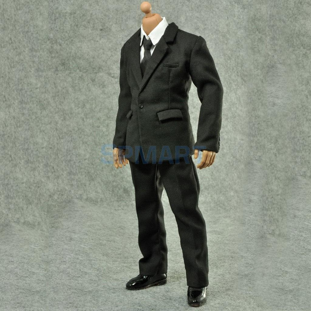 """1//6 Scale Mens Black Suits For 12/"""" Action Figures Body"""