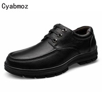 Men Oxfords Shoes Casual Flats Thick Sole Shoes Male British Style Fashion Genuine Leather Tooling Dress