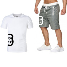 Tracksuit Men Fashion Two Pieces Sets T Shirts Shorts Suit Summer Tops Tees Motion Tshirt High Quality men clothing