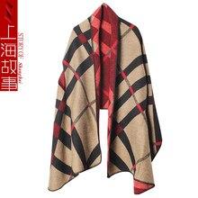 Marque de luxe plaid cachemire écharpes pour dames hiver couverture chaude  écharpe femelle surdimensionné tartan poncho femmes p. dd62dc4a009