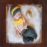 2016 Hot New 6 Months Baby Crochet Photography Props Newborn Photo Cool Boy Clothing Baby Hat