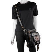 Vintage Metal Skull Motorcycle Bag Chain Rivet Belt Steampunk Waist Bag Moto Biker Shoulder Messenger Chest Fanny Pack