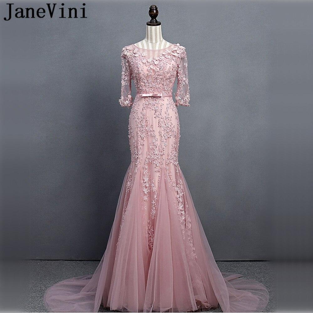 JaneVini Luxury Beaded Flowers Half Sleeve Bridesmaid Dresses Long Mermaid Women Wedding Party Dress for Prom Lace Sweep Train