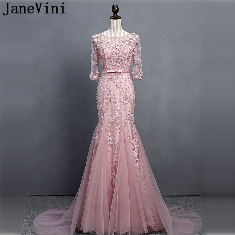 JaneVini Luxury Beaded Flowers Half Sleeve   Bridesmaid     Dresses   Long Mermaid Women Wedding Party   Dress   for Prom Lace Sweep Train