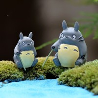 Wholesale 6Pcs/Lot Fishing DIY Totoro Resin Fairy Garden Craft Decoration Miniature Micro Gnome Terrarium Gift F0081