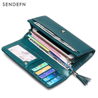 New Split Leather Womens Purse Casual Wallet Button Wallet Women Large Capacity Purse Women Wallets Vintage