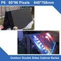 Дисплей LED P8 Открытый SMD led панель 640*768 мм Двойными Бортами передняя открыть обслуживание Шкаф для СВЕТОДИОДНЫЙ дисплей экран фиксированной установки