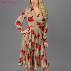 Image 1 - S. Lezzet Vintage v yaka baskı evaze elbise zarif uzun kollu bahar sonbahar elbise kadın rahat kadın pilili elbise