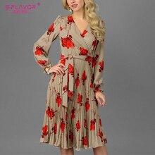 S.フレーバーヴィンテージ V ネックプリント A ラインドレスエレガントな長袖春秋のドレス女性カジュアル女性プリーツドレス