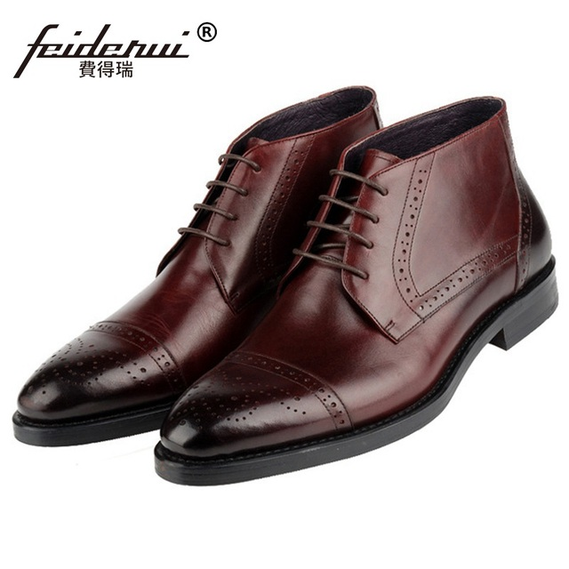 157170f9bc9d5 Luxury Brand Man Semi Brogue Oxford Shoes Round Toe Carved Genuine Leather  Footwear Men's Cowboy Martin Ankle Boots KE89