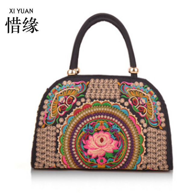 Xiyuan Brand Fl Embroidery Bags Vintage Ethnic Thailand Boho Indian Women Embroidered Shoulder Handbags Sac