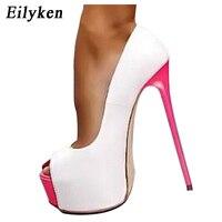 Eilyken New Sexy Women Pumps Personality 16 cm High heel Temperament High heeled shoes Peep Toe Pumps size 34 40 White Black