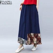 2018 moda ZANZEA verano faldas mujeres Vestidos Boho Falda larga falda Maxi  ocasional más tamaño S 492ba944d2b5