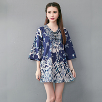 Chinese Style Blue Flower Clouds Embroidery Cotton Linen Dress Loose Casual Flax Dress For Women Summer