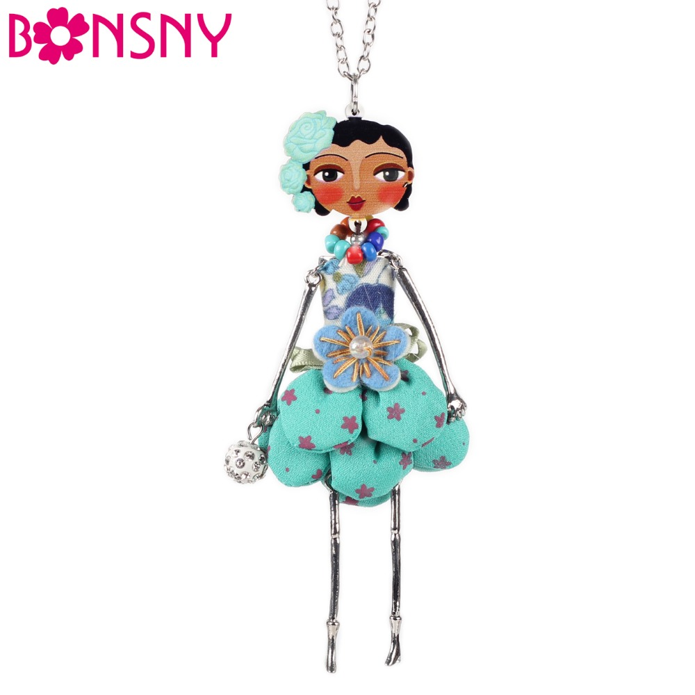 Bonsny Doll Dress Dress Handmade Paris Doll Pendant trendy 2016 Aktualności Alloy Girl Women Flower Fashion Jewelry Accessories