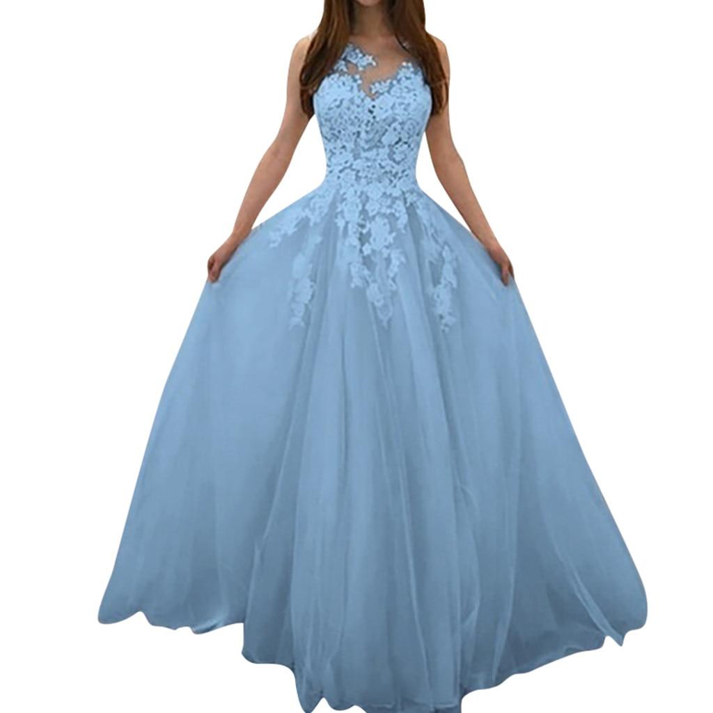 Fashion Floral Women's Dress Chiffon V-neck Sleeveless Puffed Long Dresses Lace Wedding Elegant Long Dress Vestido