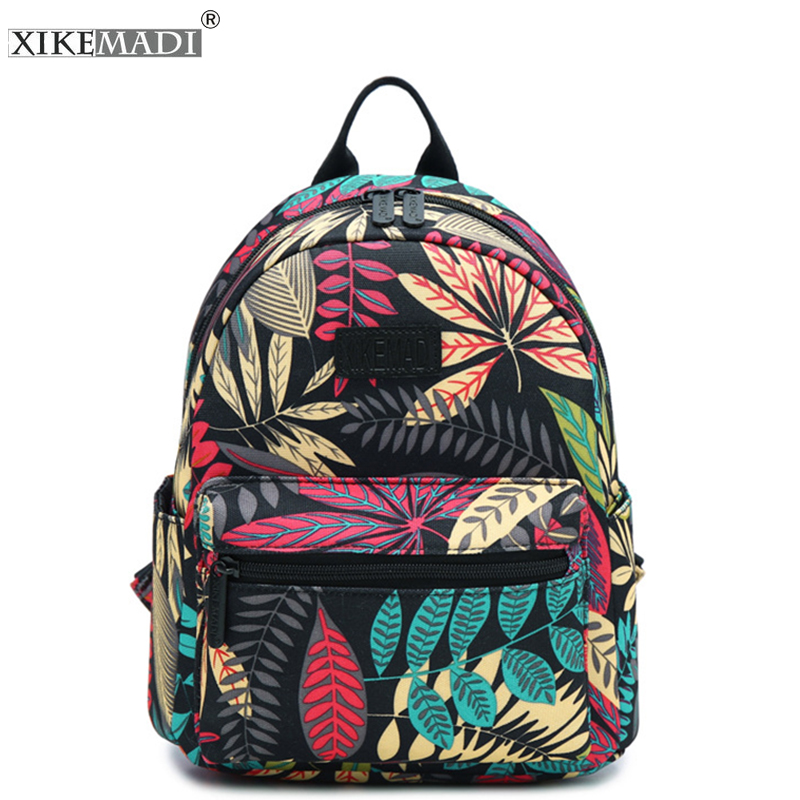 XIKEMADE Canvas Backpack Daypack Travel Backpack Teenager Girl Mochila Student School Bag