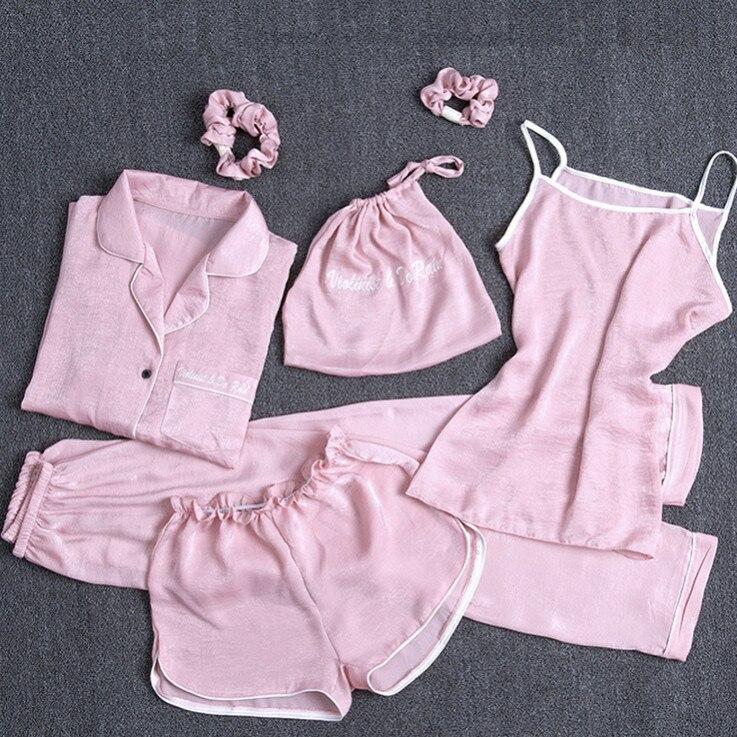 Women   pajamas     set   summer spring 7 pieces   sets   cute kawaii korea style sleeping cloth light color turn down collar ouc1663