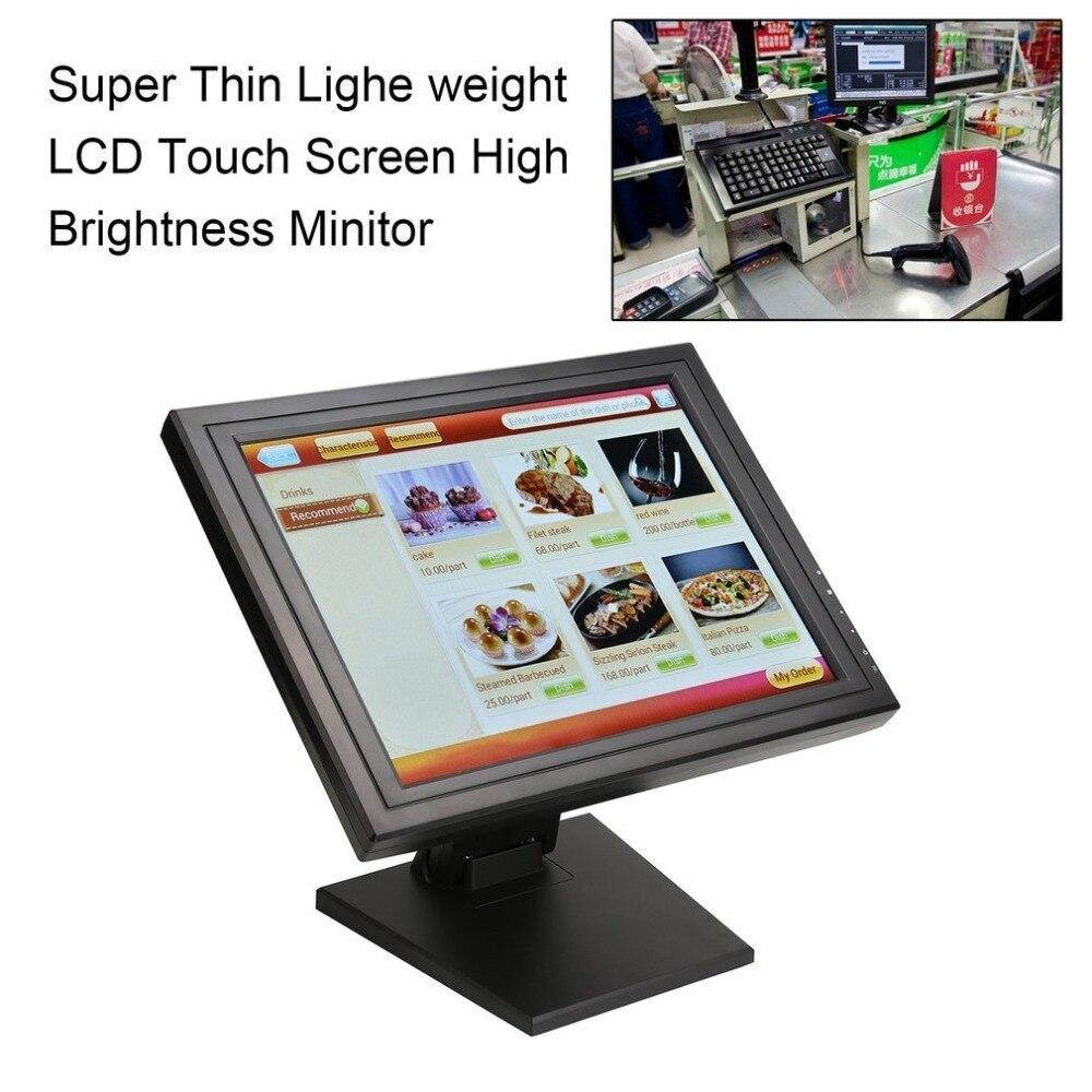 US plug 17 pouces écran tactile moniteur LED POS TFT LCD écran tactile 1024X768 au détail Restaurant Bar écran tactile affichage USB