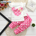 New Spring Autumn Children Clothes Kids Baby Girls Casual Mickey Minnie Tops and Elastic Waist Polka Dot Long Pant 2 Pieces Sets