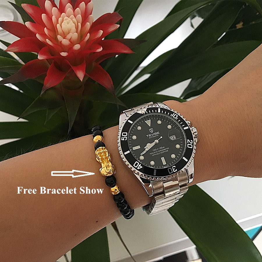 Image 2 - Tevise Luxury Waterproof Automatic Men Mechanical Watch Auto Date Full Steel Business Top Brand Man Watches Water Resistant T801-in Mechanical Watches from Watches