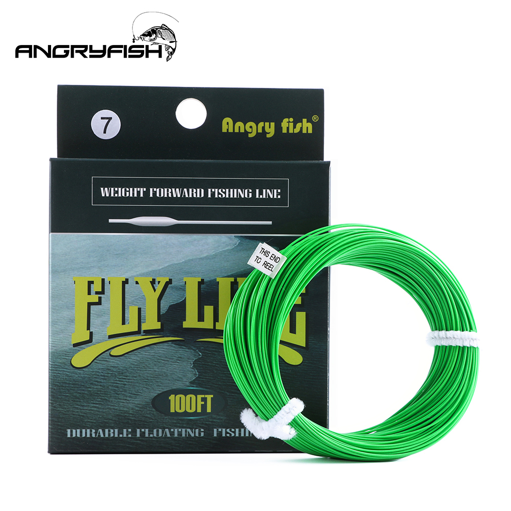 Angryfish WF 5F/6F/7F 100FT Dloating Fly Fishing Line Weight Forward Floating Nylon Backing Line Tippet Tapered Leader Loop|tapered leader|fishing line|backing line - title=