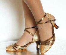 Wholesale Gold Glitter Closed Toe Ballroom Dance Shoe Salsa Tango Dance Shoes Sale ALL Size