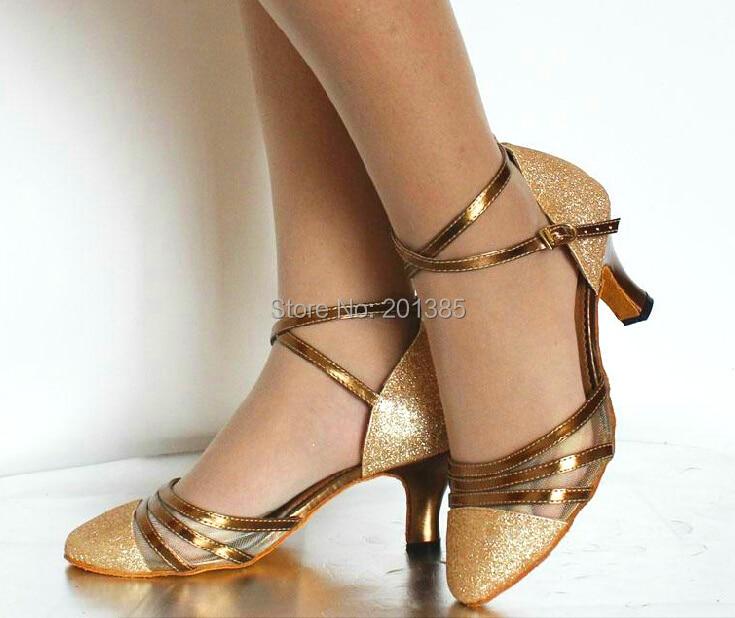 Wholesale Gold Glitter Closed Toe Ballroom font b Dance b font Shoe Salsa font b Tango