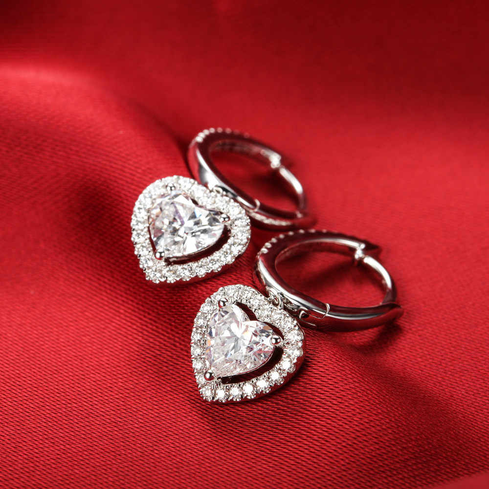 1.5CT/ Piece High Quality Heart Shape SONA Simulate Diamond Drop Earrings 925 Genuine Sterling Silver Dangle Earrings Perfectly