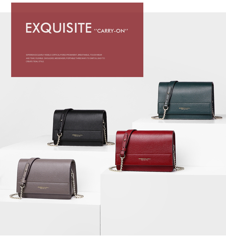 NEVEROUT Soft Genuine Leather Bag for Women Ladies Small Messenger Purse Solid Flap Shoulder Sac Classic Chain Crossbody Handbag
