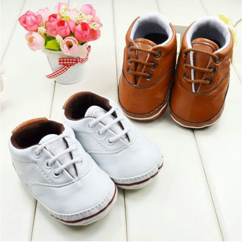 Baby Boys Solid Soft Sole First Walker PU Leather Infant Toddler Shoes