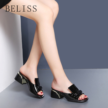BELISS women shoes summer high heels peep toe elegant ladies slides slipper metal decoration womens patent leather S8