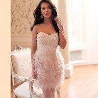Robe De Soiree/Роскошные Короткие вечерние платья с бисером, мини платья для выпускного вечера, платье с перьями, vestido de festa Curto