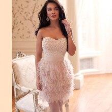 Robe De Soiree Luxury Beading Short Party Dresses Mini Prom Gowns Avondjurk Vestidos Feathers Dresses Vestido De Festa Curto цена и фото