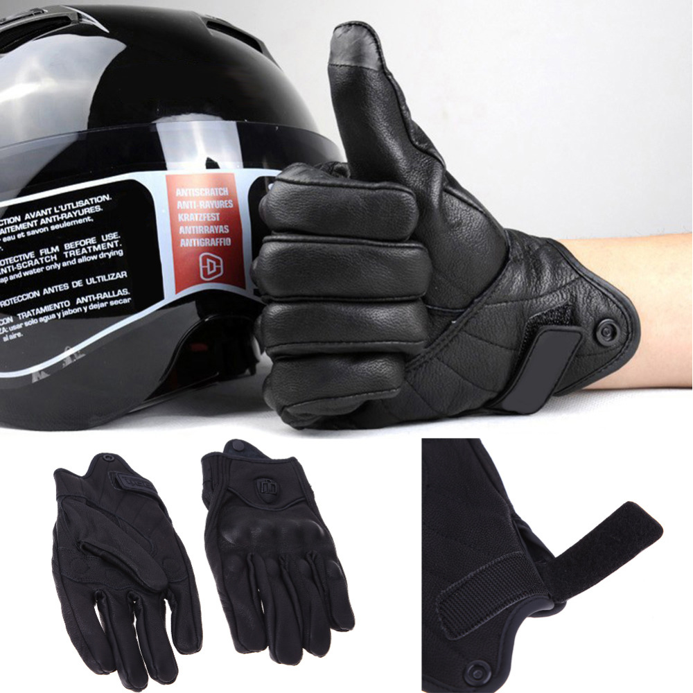Motorcycle gloves xl - Men Motorcycle Gloves Outdoor Sports Full Finger Knight Riding Motorbike Racing Cycling Short Leather Gloves M L Xl Black Color