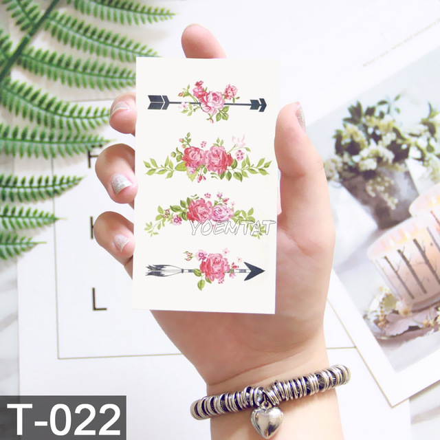 10.5x6cm Flowers rose lotus Design Fashion Temporary Tattoo Stickers Temporary Body Art Waterproof Tattoo Pattern Wholesales 3