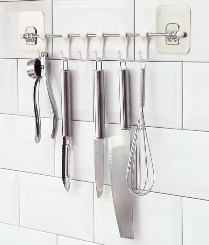 Six - link kitchen nail free sucker strong seamless wall-mounted waterproof hook creative punch