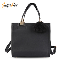 Brand New Design Fashion OL Dress Tote Bag Women Frosted PU Leather Large Shoulder Bag Hairball