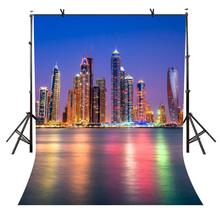 5x7ft City Night Backdrop Waterfront Photography Background and Studio Props