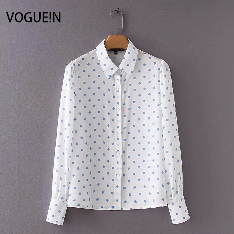 VOGUEIN New Womens Casual <font><b>Blue</b></font> <font><b>Polka</b></font> <font><b>Dot</b></font> Print Long Sleeve Blouse <font><b>Shirt</b></font> Tops Wholesale image