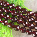 Free Shipping Fashion Jewelry A++6MM Faceted Round Natural Garnet Beads Strand 15.5